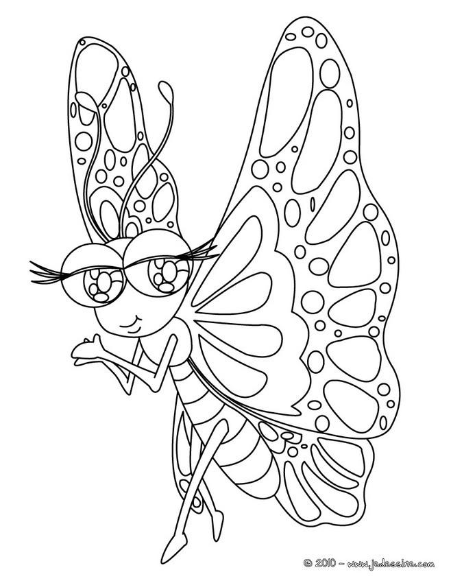 Coloriage Fleur Insecte.Coloriages Papillon Pose Sur Une Fleur Fr Hellokids Com