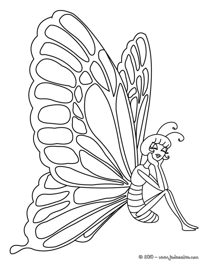Coloriages princesse papillon - Coloriage de papillon ...