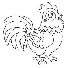 COQ à colorier - Coloriage - Coloriage ANIMAUX - Coloriage ANIMAUX DE LA FERME - Coloriage COQ