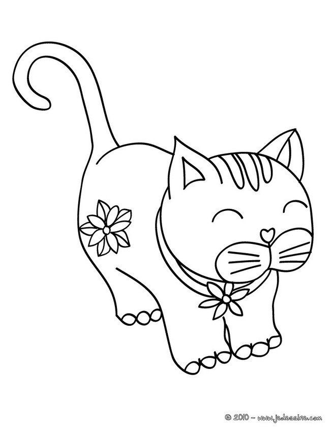 Coloriages chat content - Coloriage de chat ...