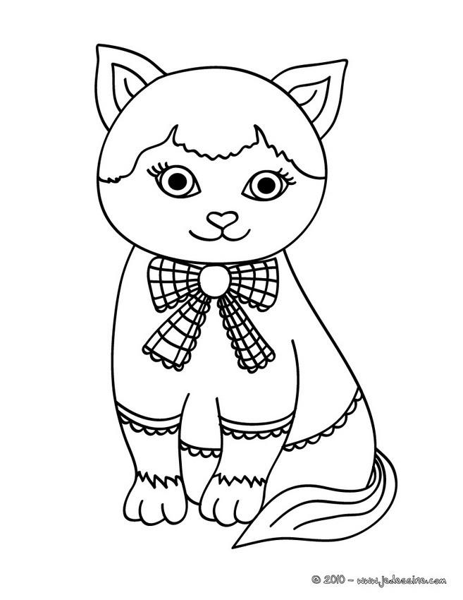 Coloriages chatte charmante - Chat a colorier en ligne ...