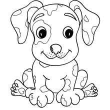 Coloriage de chien : Chiot kawaii
