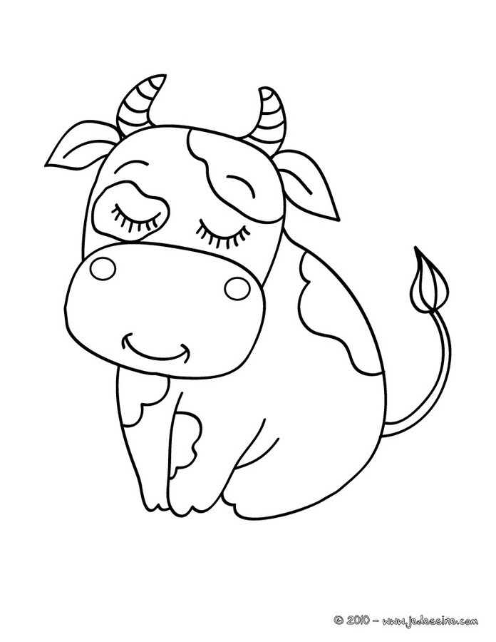 Coloriages coloriage d 39 une jolie vache - Vache normande dessin ...