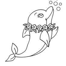 Coloriage d'un DAUPHIN sous la mer - Coloriage - Coloriage ANIMAUX - Coloriage ANIMAUX MARINS - Coloriage DAUPHIN