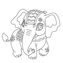 Coloriage d'un ELEPHANT Kawaii
