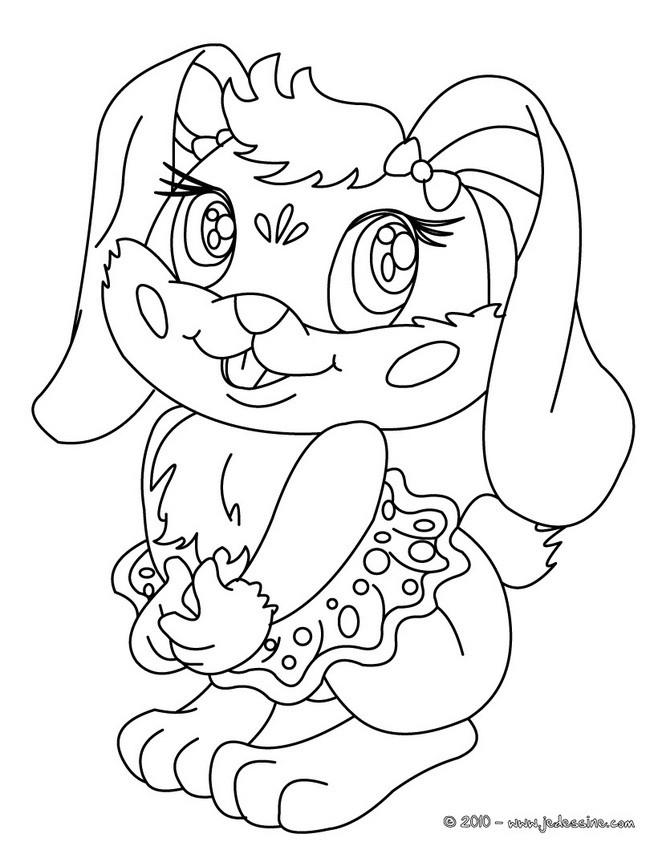 Coloriages coloriage d 39 une lapine kawaii - Coloriage kawaii a imprimer ...