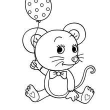 Coloriage d'une SOURIS kawaii - Coloriage - Coloriage ANIMAUX - Coloriage ANIMAUX DE LA FERME - Coloriage SOURIS