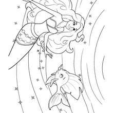 Merliah et un poisson - Coloriage - Coloriage BARBIE - Coloriage BARBIE ET LE SECRET DES SIRÈNES - Coloriage de MERLIAH