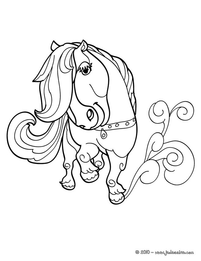 Coloriages coloriage d 39 un poney kawaii - Coloriage poney ...