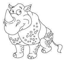 Coloriage d'un gentil rhinocéros