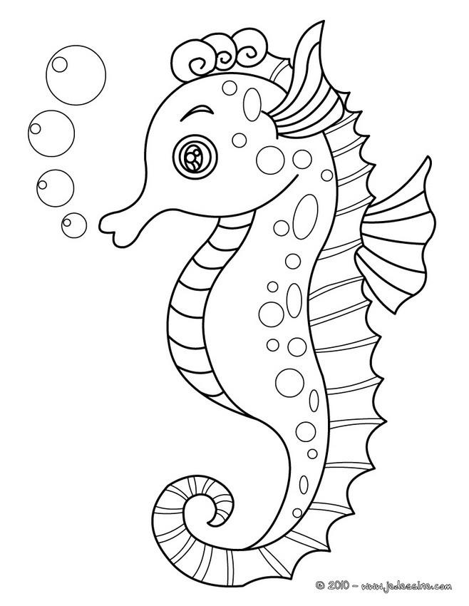 Coloriages Coloriage D Un Hippocampe à Imprimer Fr Hellokids Com