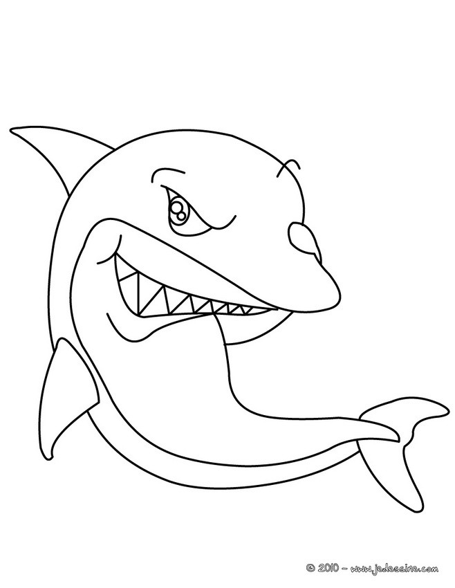 Coloriage d'un méchant requin