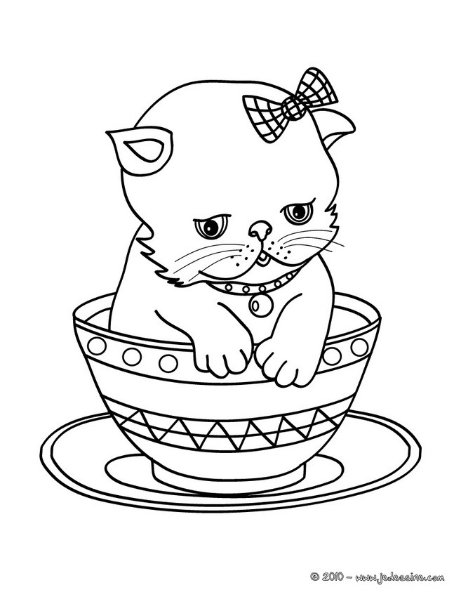 Coloriages b b chat dans une tasse - Tete de chat a colorier ...