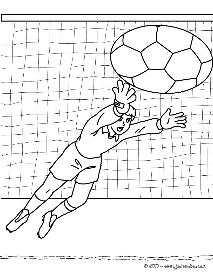 Coloriage d un GARDIEN de BUT de football