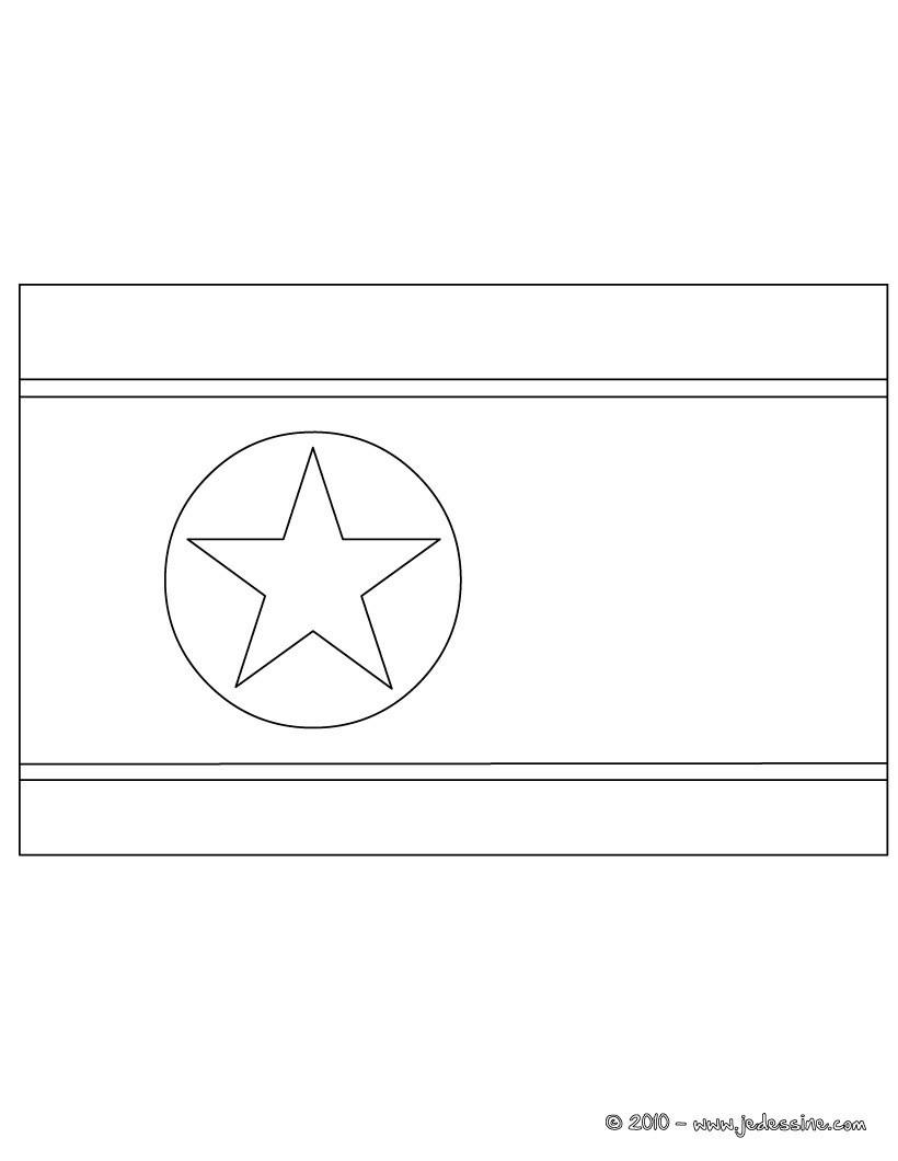 coloriage du drapeau de la coree du nord - Drapeau Espagnol A Imprimer