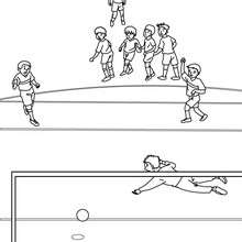 Coloriage d'un PENALTY de foot - Coloriage - Coloriage SPORT - Coloriage COUPE DU MONDE DE FOOTBALL - Coloriage FOOTBALL
