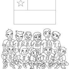 Coloriage EQUIPE FOOT CHILI - Coloriage - Coloriage SPORT - Coloriage COUPE DU MONDE DE FOOTBALL - Coloriage EQUIPES DE FOOT
