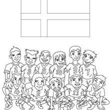 Coloriage EQUIPE FOOT DANEMARK - Coloriage - Coloriage SPORT - Coloriage COUPE DU MONDE DE FOOTBALL - Coloriage EQUIPES DE FOOT