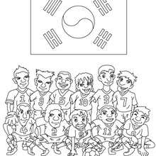 Coloriage EQUIPE FOOT COREE DU SUD - Coloriage - Coloriage SPORT - Coloriage COUPE DU MONDE DE FOOTBALL - Coloriage EQUIPES DE FOOT