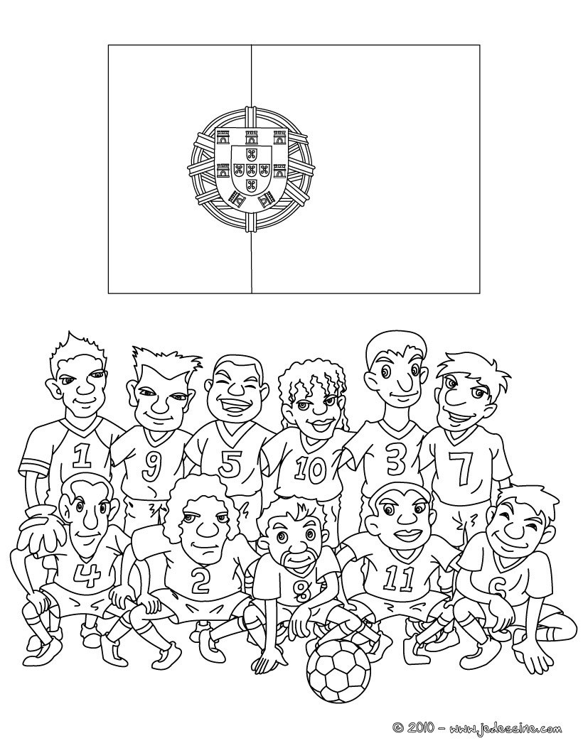 Coloriages coloriage equipe foot portugal - Dessin du portugal ...