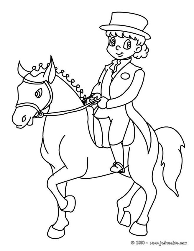 Coloriages coloriage d 39 un enfant cavalier - Coloriage de cavaliere ...