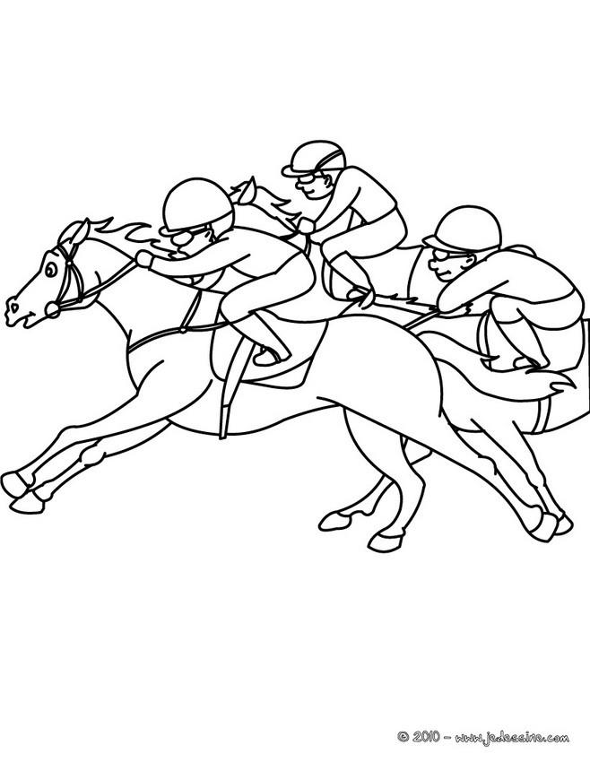 Coloriages coloriage d 39 une course de galop - Dessin cheval de course ...