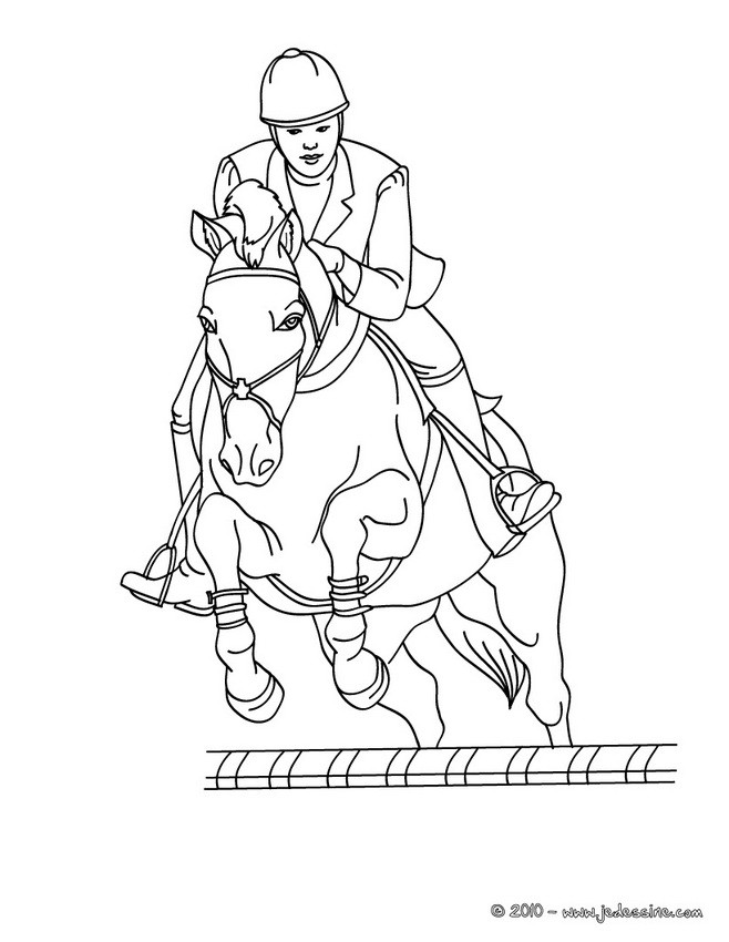 dessin cheval qui saute obstacle