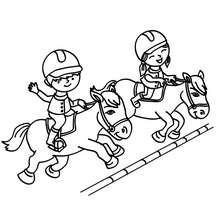 Petits cavaliers à colorier - Coloriage - Coloriage SPORT - Coloriage EQUITATION - Coloriage JUMPING