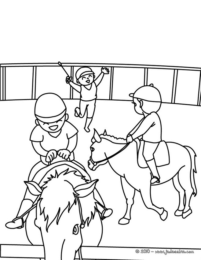 Coloriages chevaux dans le manege colorier fr - Jeux de poney qui saute ...