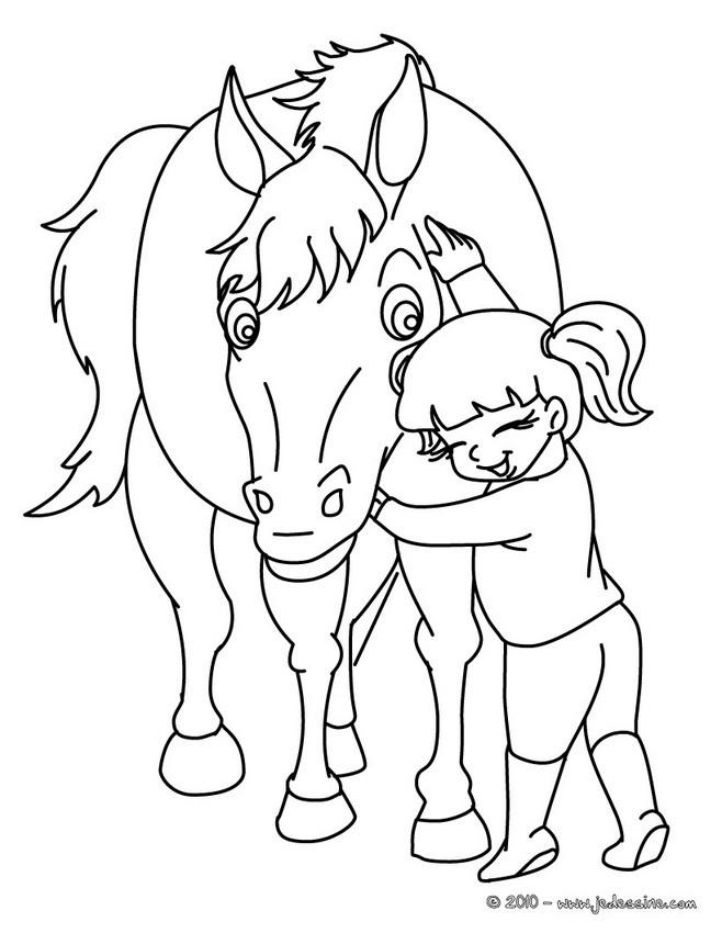 coloriage cheval sortant de son box