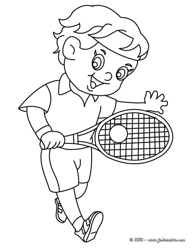 Coloriages coloriage d 39 un enfant tennisman - Coloriage d un enfant ...