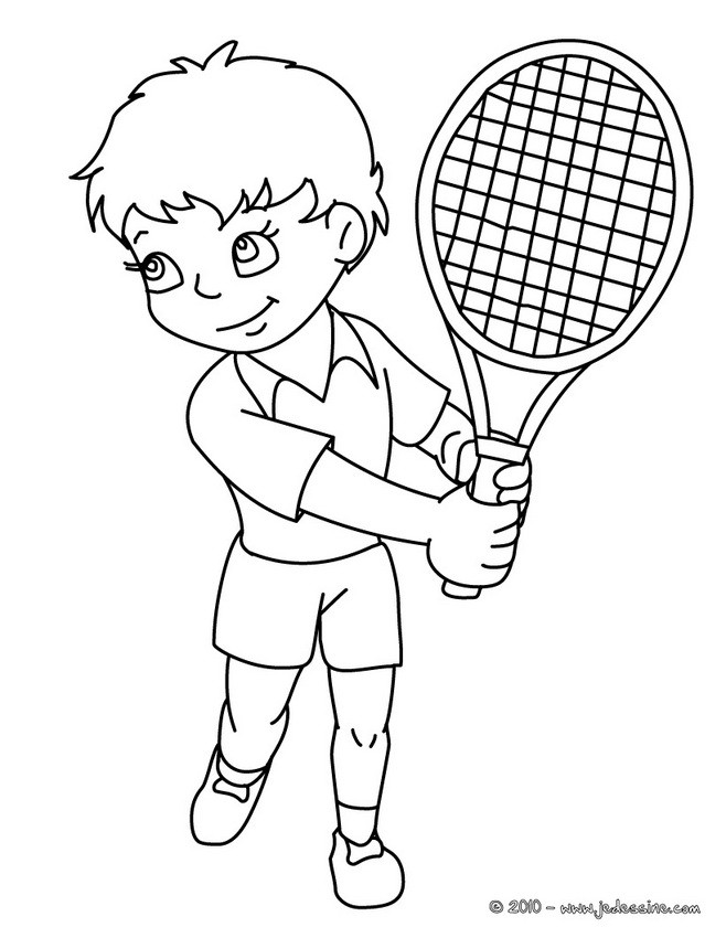 coloriage enfant tennisman colorier
