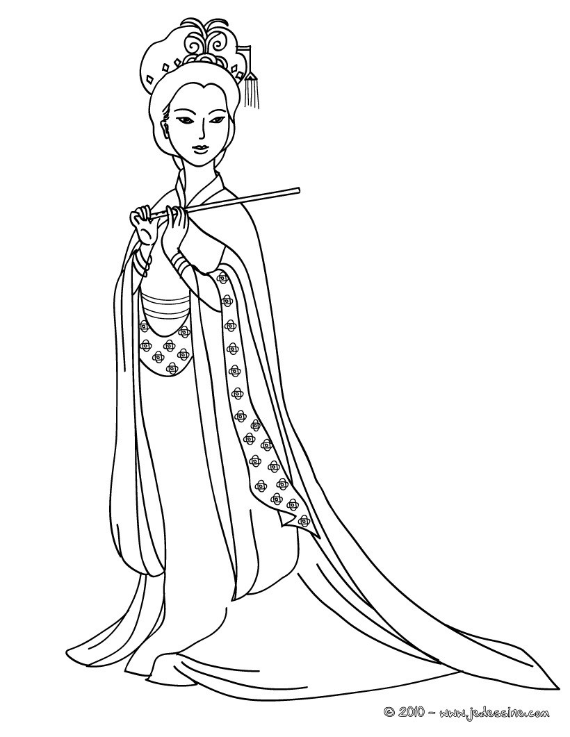 Coloriages coloriage princesse chinoise - Coloriage chine ...