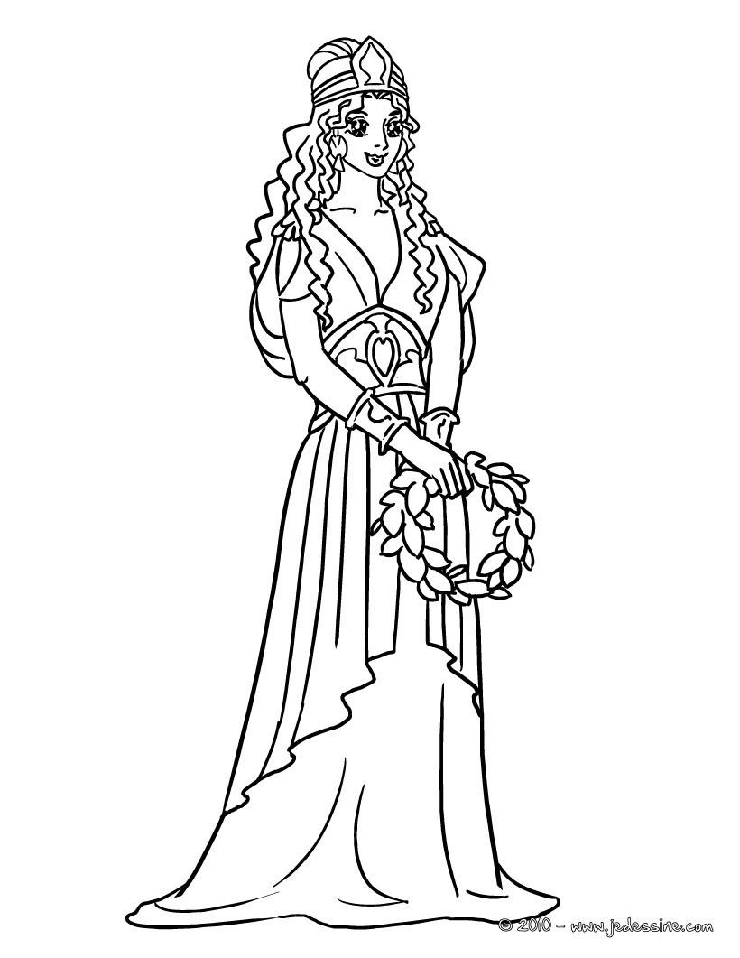 coloriage princesse grecque imprimer