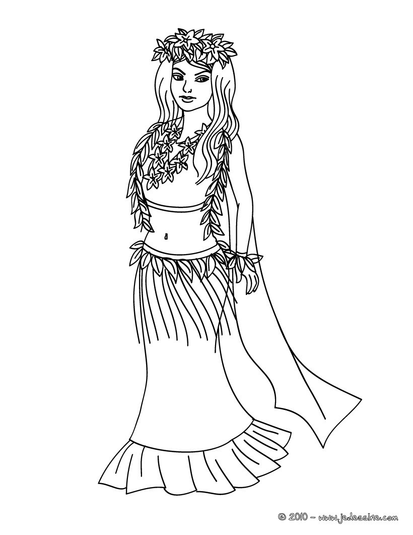 Coloriages coloriage princesse hawaiienne - Coloriages princesse ...