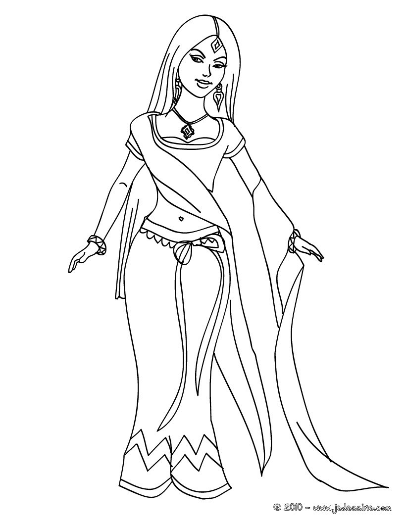 Coloriages coloriage princesse indienne - Colriage princesse ...