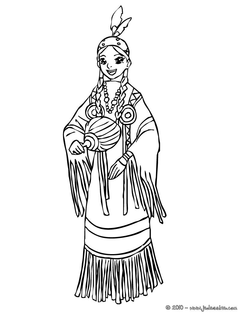 Coloriages coloriage princesse comanche - Coloriage hawaienne ...