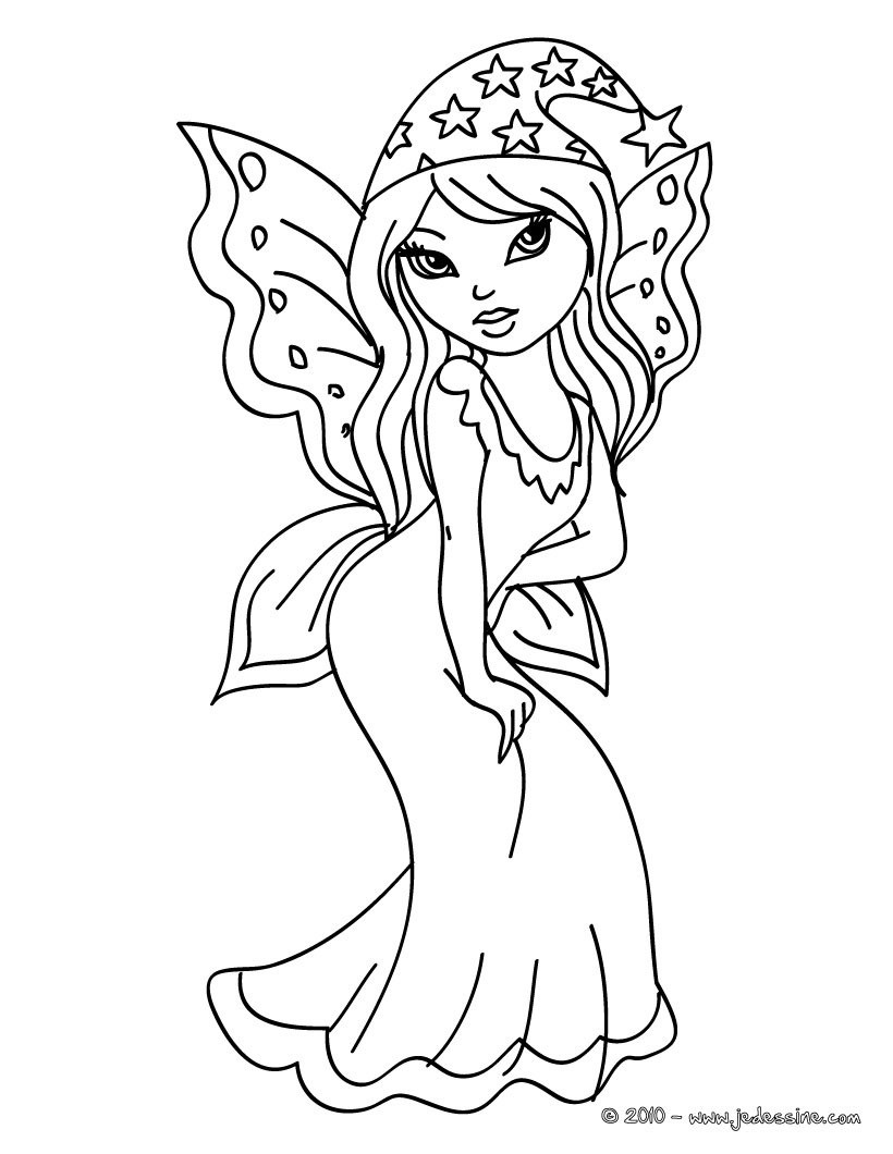 Coloriages coloriage d 39 une fee kawaii - Fee coloriage ...