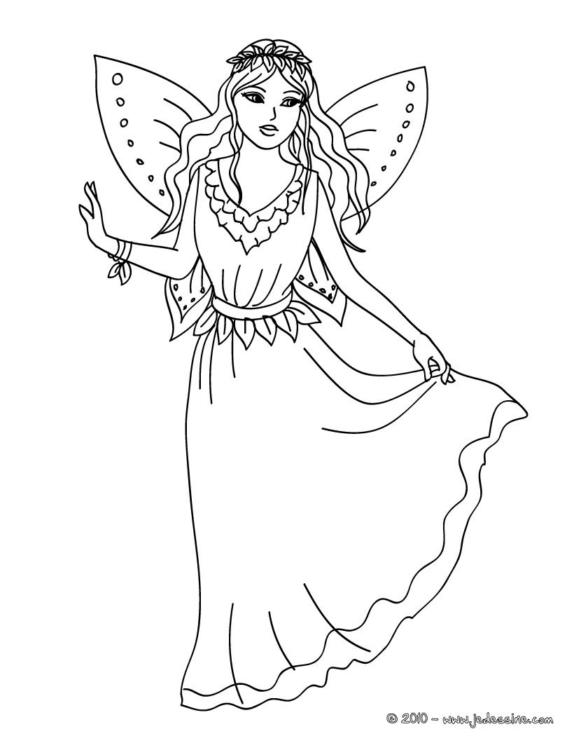 Coloriages Dessin D Une Fee à Colorier Fr Hellokids Com
