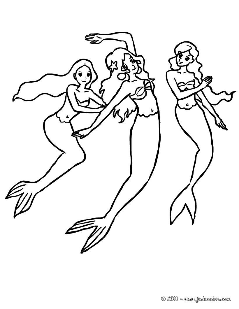 coloriage de sirenes - Coloriage Sirene