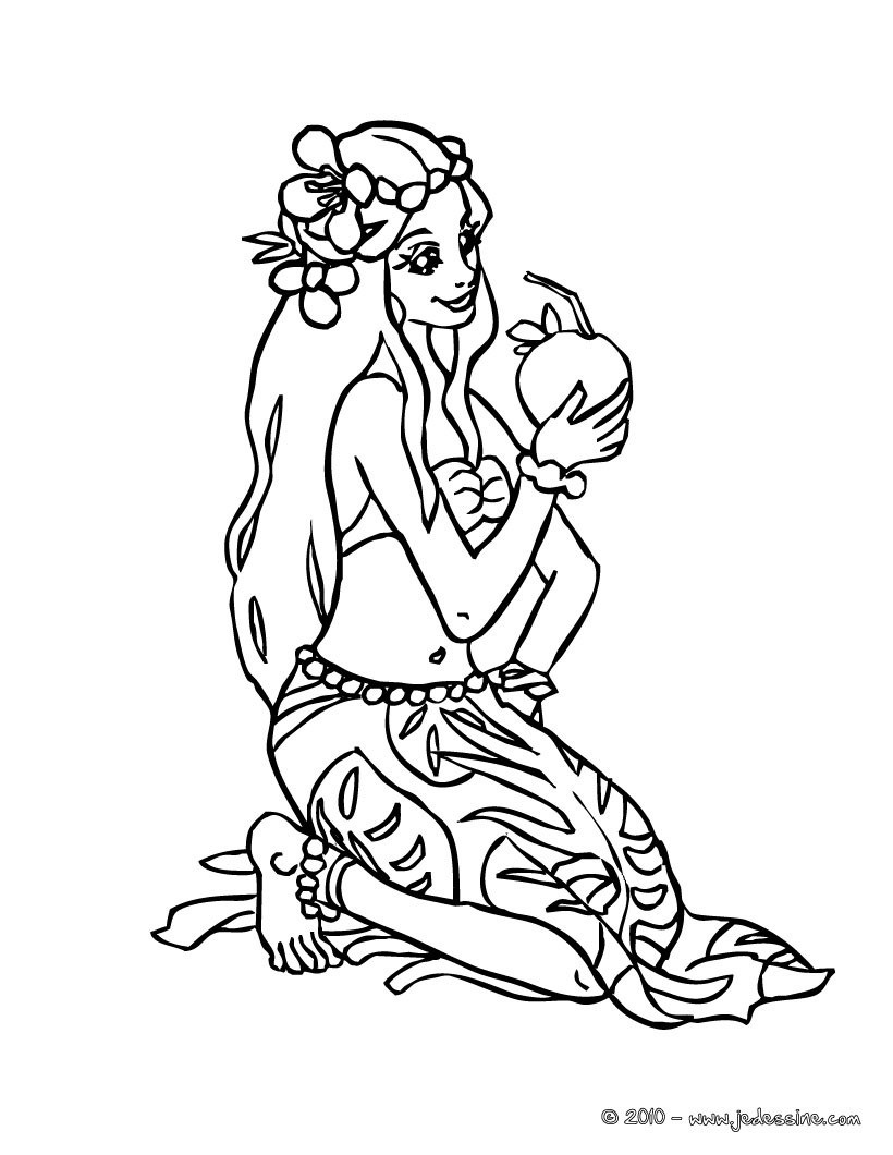 Coloriages coloriage princesse hawaienne - Coloriage hawaienne ...