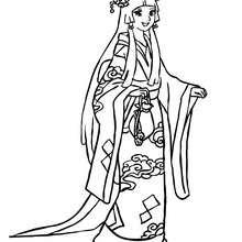 Coloriage princesse JAPONAISE