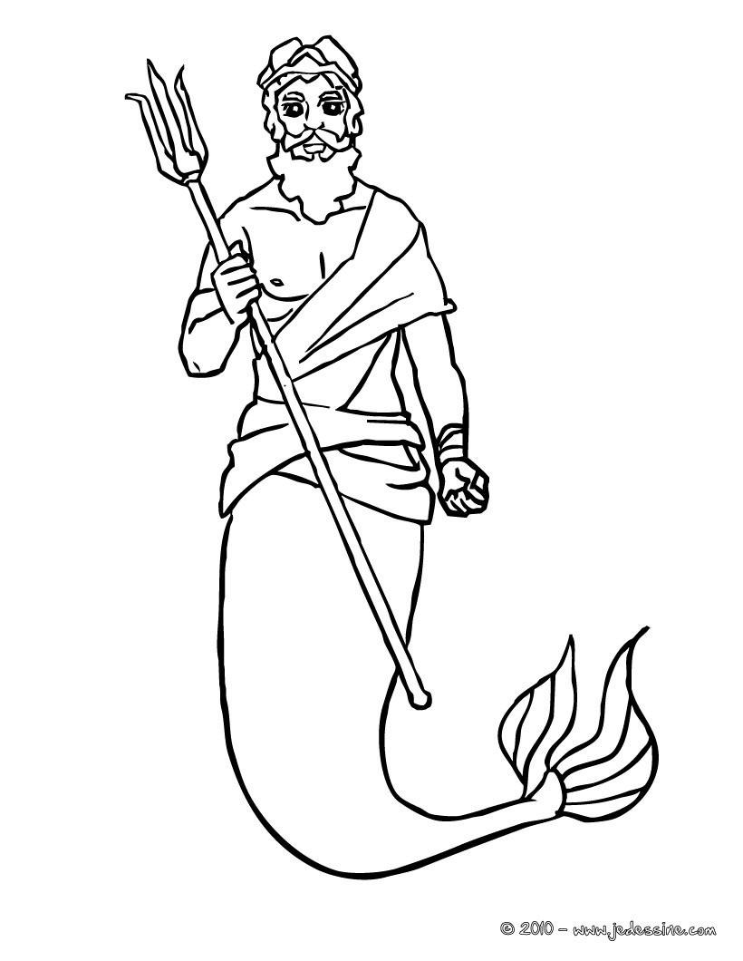Coloriages le roi triton et son trident à colorier - fr.hellokids.com