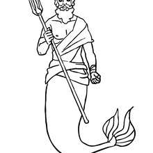 Le ROI TRITON et son TRIDENT  colorier - Coloriage - Coloriage GRATUIT - Coloriage PERSONNAGE IMAGINAIRE - Coloriage SIRENE