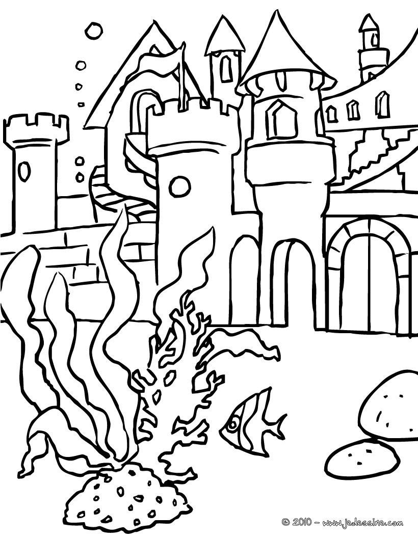 Coloriage Chateau En Ligne.Coloriages Coloriage Chateau Des Sirenes Fr Hellokids Com