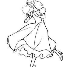 Princesse à colorier gratuitement - Coloriage - Coloriage PRINCESSE - Coloriage ROBES PRINCESSES