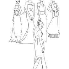 Princesses à colorier en ligne - Coloriage - Coloriage PRINCESSE - Coloriage ROBES PRINCESSES
