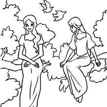 2 princesses assises sur une branche d'arbre - Coloriage - Coloriage PRINCESSE - Coloriage PRINCES ET PRINCESSES