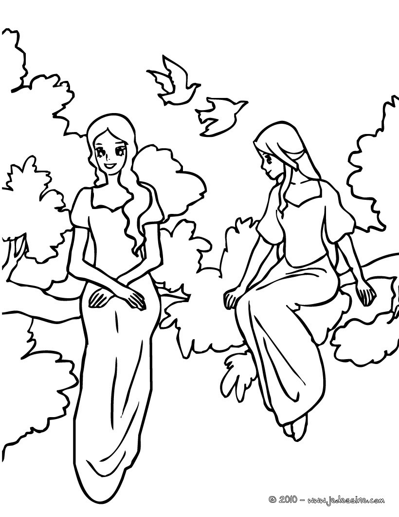 Coloriage : 2 princesses assises sur une branche d'arbre