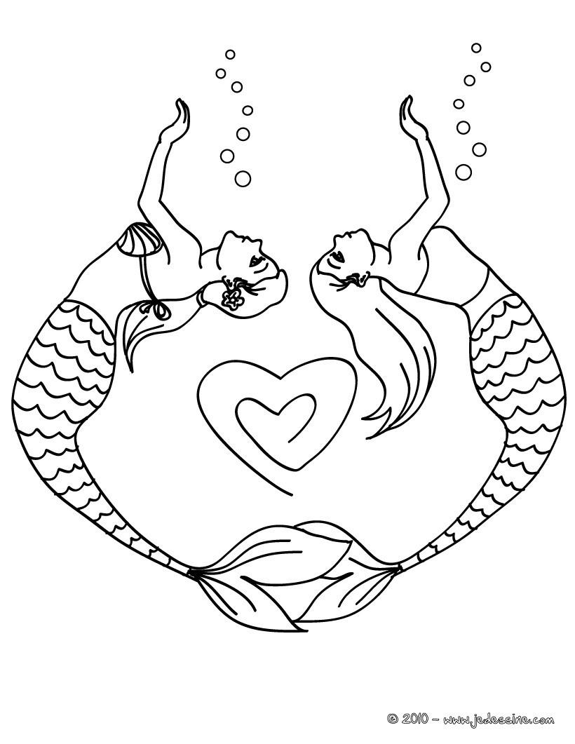 Coloriages 2 Sirenes Forment Un Coeur Avec Leur Corps Fr Hellokids Com